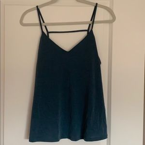 Teal open back tank top